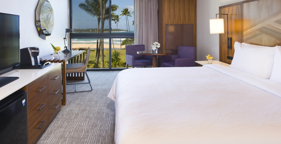 hotel room with king bed and oceanview